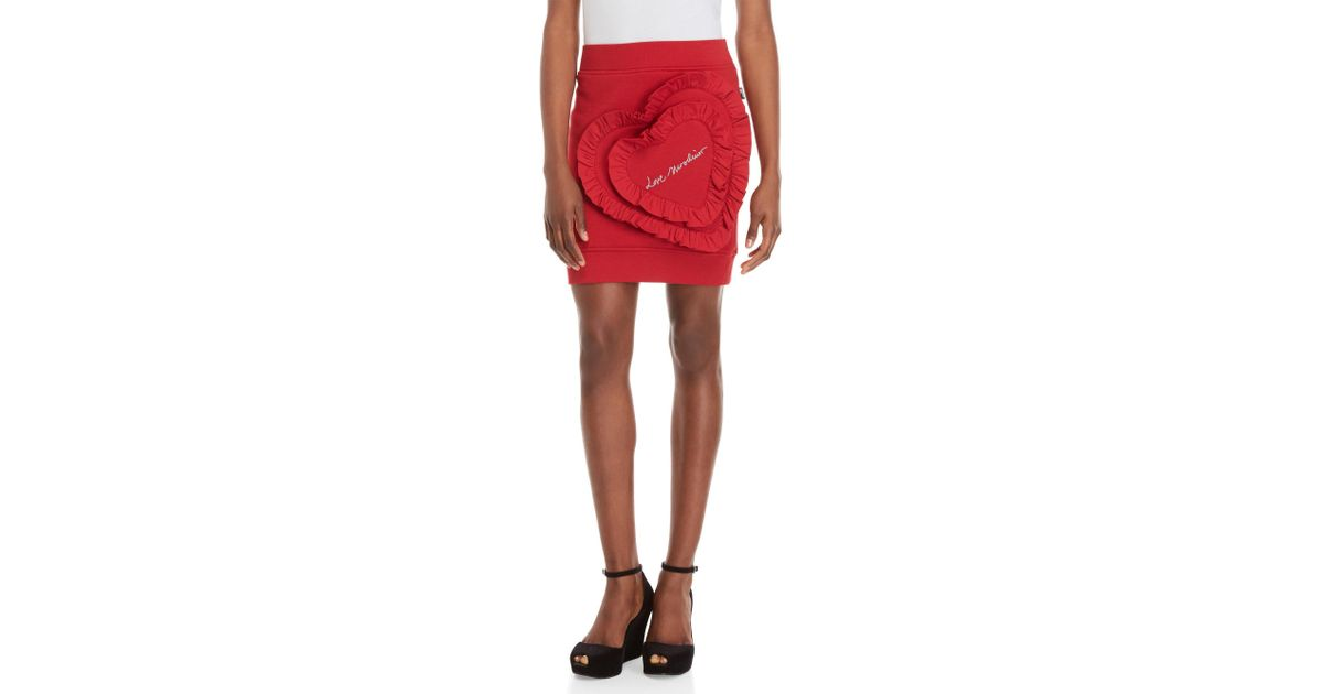 Lyst love moschino heart appliqué knit mini skirt in red