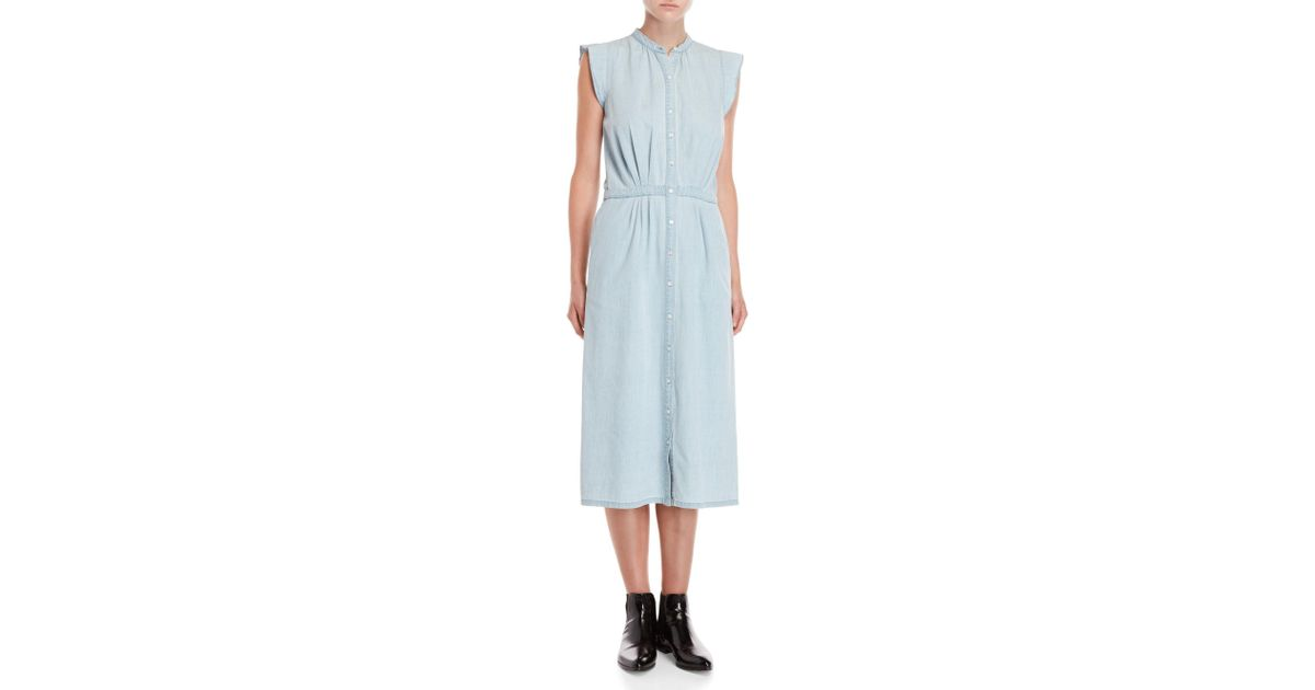59223a0756 Lyst - Joie Awel Chambray Button Front Midi Dress in Blue