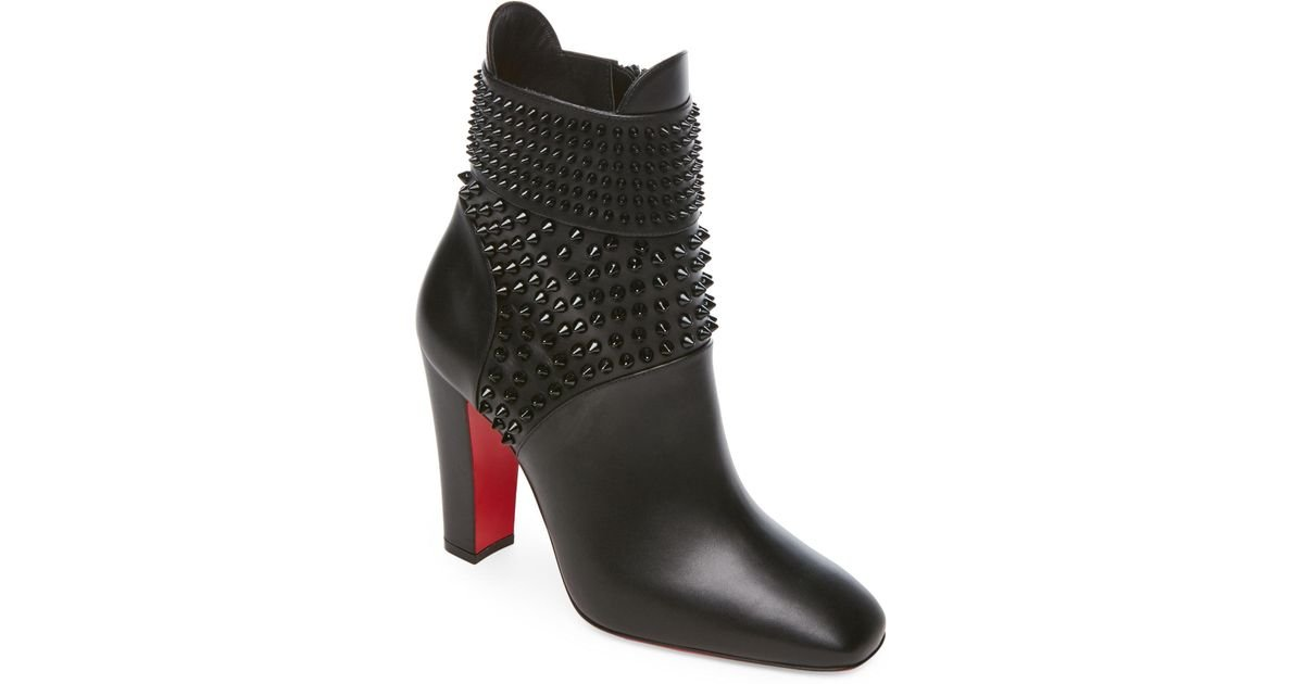 3fd03363042 Lyst - Christian Louboutin Black Praguoise Spiked Leather Booties in Black