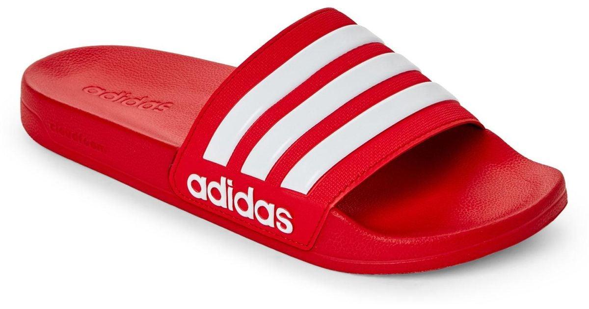 f5574ef8a7b Lyst - adidas Scarlet   White Adilette Cf Slide Sandals in Red