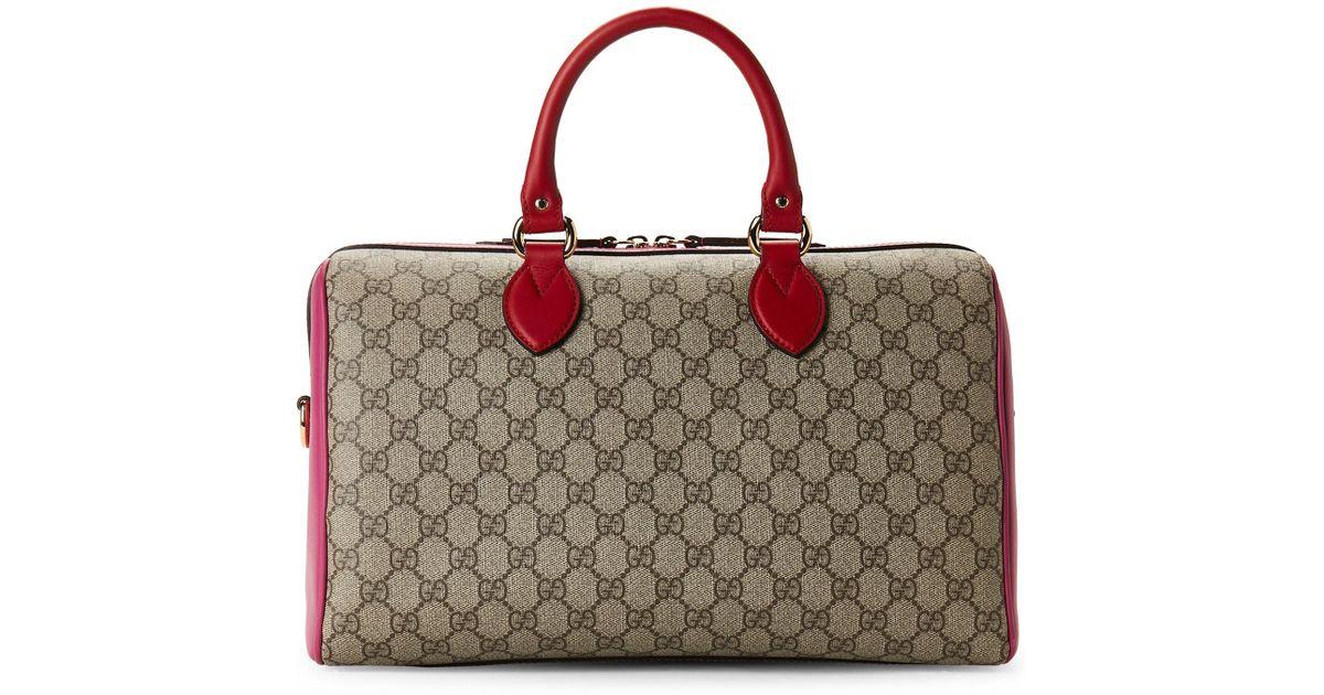 2265bae5e4e1e Lyst - Gucci Hibiscus Red And Pink Leather Gg Supreme Boston Bag in Red