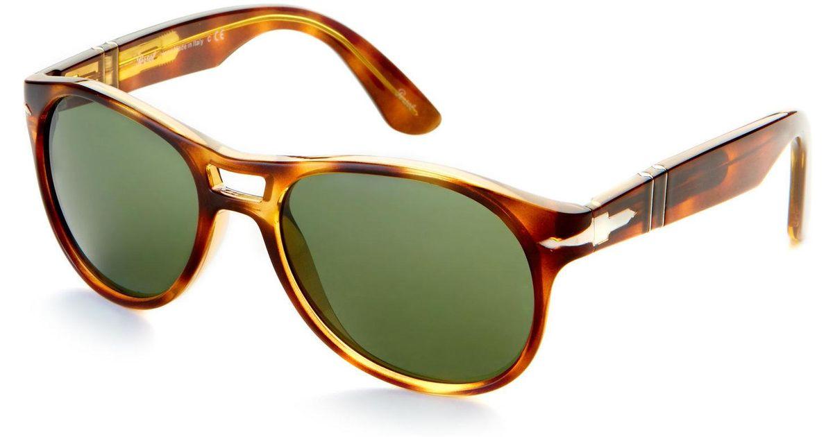 c3babcd893 Lyst - Persol Tortoiseshell-Look Po3155 Aviator Sunglasses in Brown