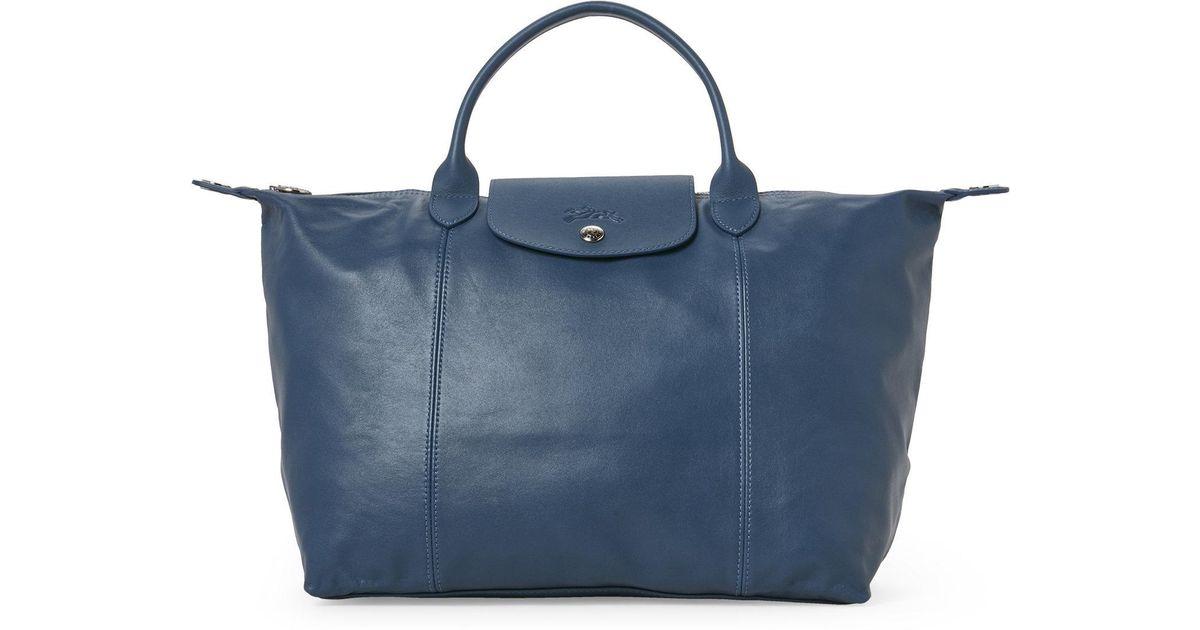 f561c70e1b85 Lyst - Longchamp Light Blue Le Pliage Cuir Medium Satchel in Blue