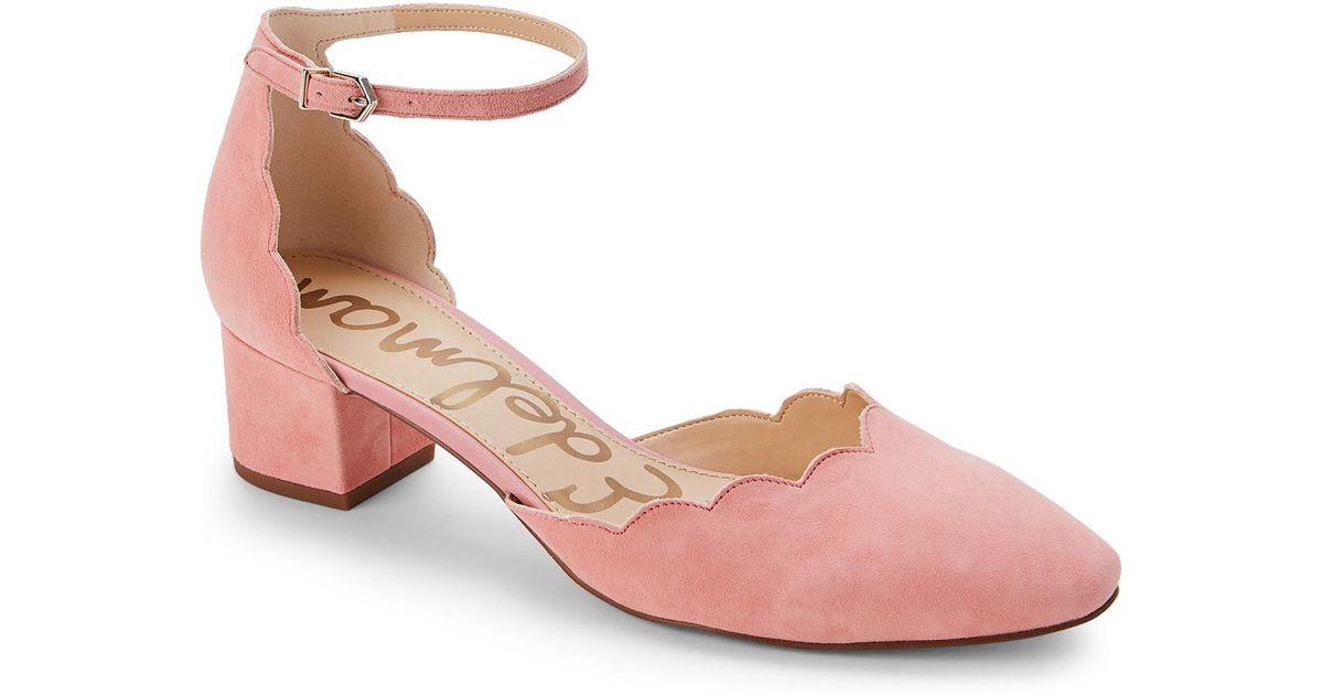 c61a89162c65 Lyst - Sam Edelman Peach Blossom Lara Scalloped Ankle Strap Pumps