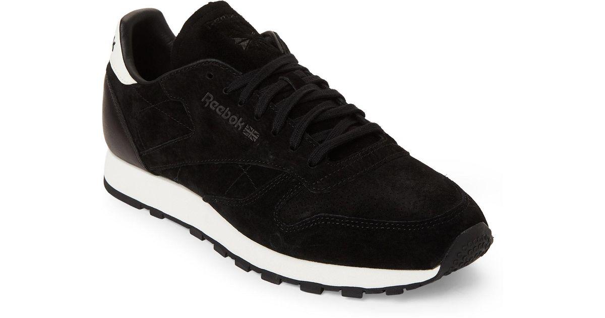 Lyst - Reebok Black   Chalk Classic Suede Low-top Sneakers in Black for Men 805b018c2