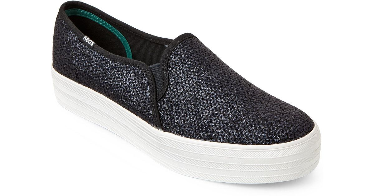 65b209dc8d579 Lyst - Keds Black Glitter Triple Decker Platform Sneakers in Black for Men
