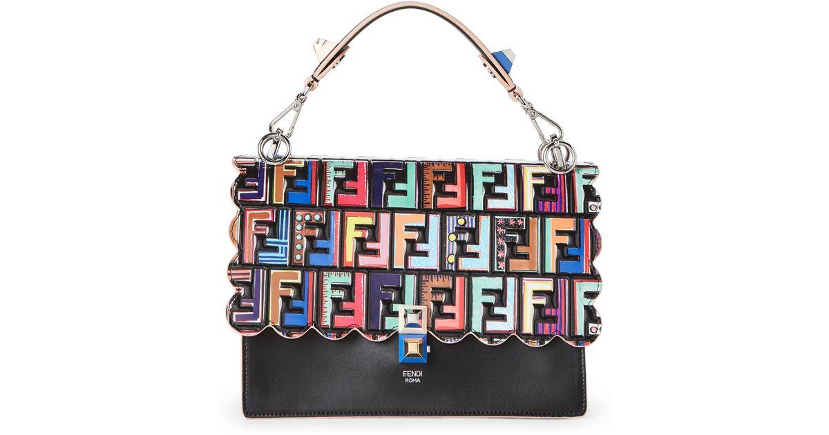 Lyst - Fendi Black Kan I Fun Fair Leather Shoulder Bag in Black c1f4dff42cd5b