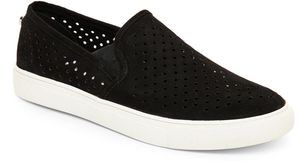 1ec25275ea1e8 Lyst - Steve Madden Black Owen Perforated Slip On Sneakers in Black
