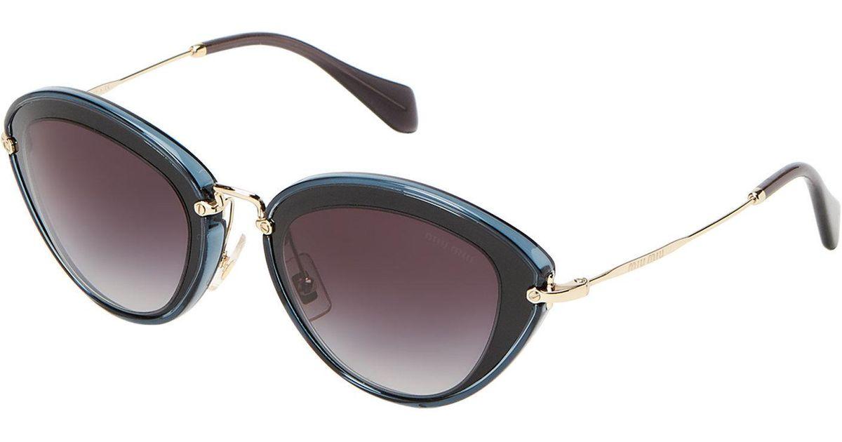 6694c47db3da Lyst - Miu Miu Smu 51r Blue   Gold-tone Cat Eye Sunglasses