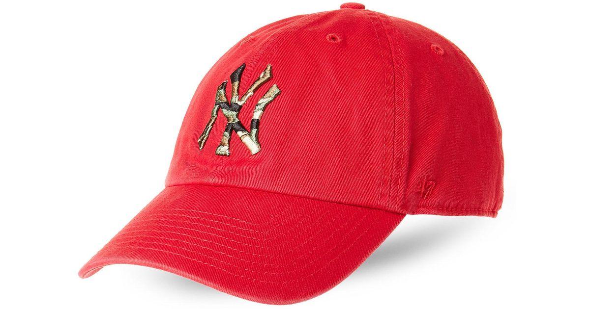 76e9630da60 Lyst - 47 Brand Camo-Accented New York Yankees Baseball Cap in Red for Men
