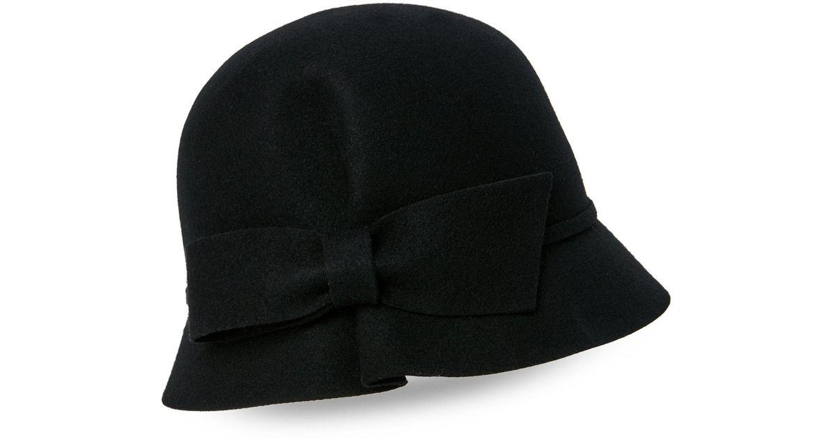 357f627379b Lyst - Betmar Wool Felted Mini Bow Hat in Black