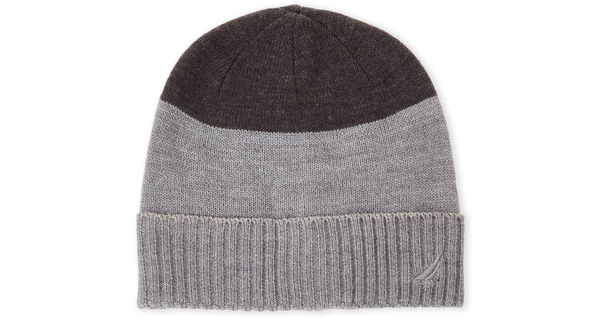 Lyst - Nautica Grey Color Block Cuff Beanie in Gray for Men 1473ba9b2909
