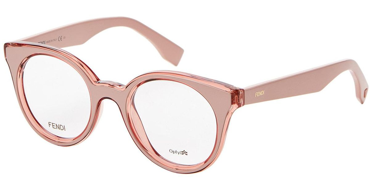 accb4962e12 Lyst - Fendi Ff0198 Pink Round Optical Frames in Pink