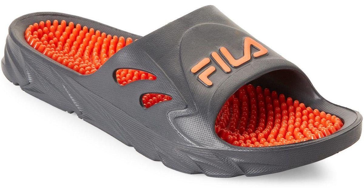 0e32f8ae2e0 Lyst - Fila Grey   Orange Driftonic Massage Slide Sandals in Gray for Men