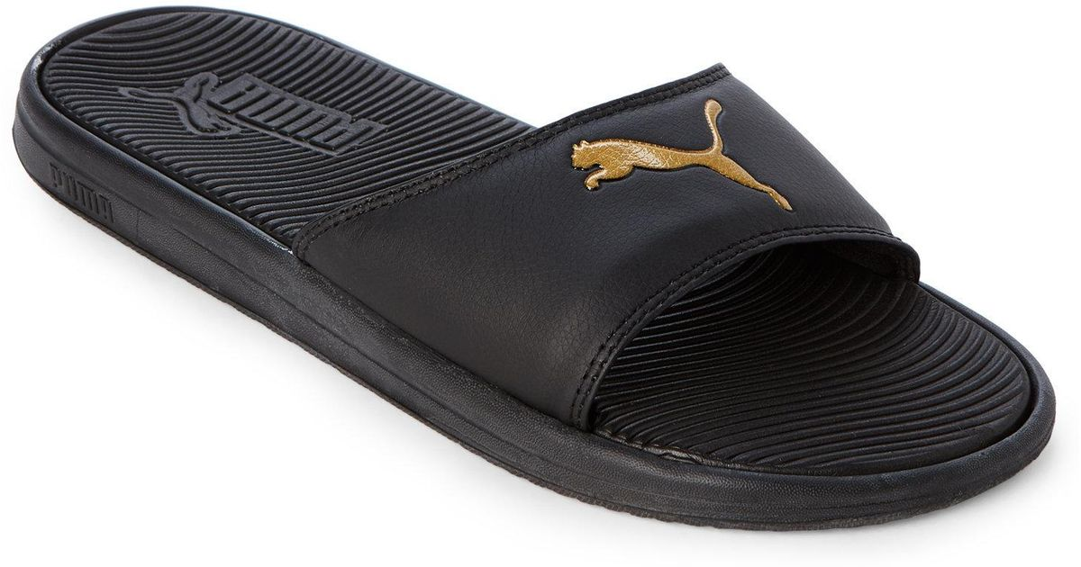 8949ce69e531 Lyst - PUMA Black   Gold Sport Slides in Black for Men