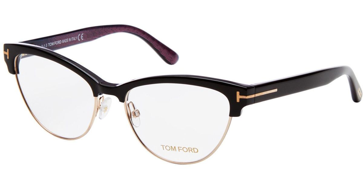 Lyst - Tom Ford Tf5365 Black Semi-rimless Cat Eye Optical Frames in ...