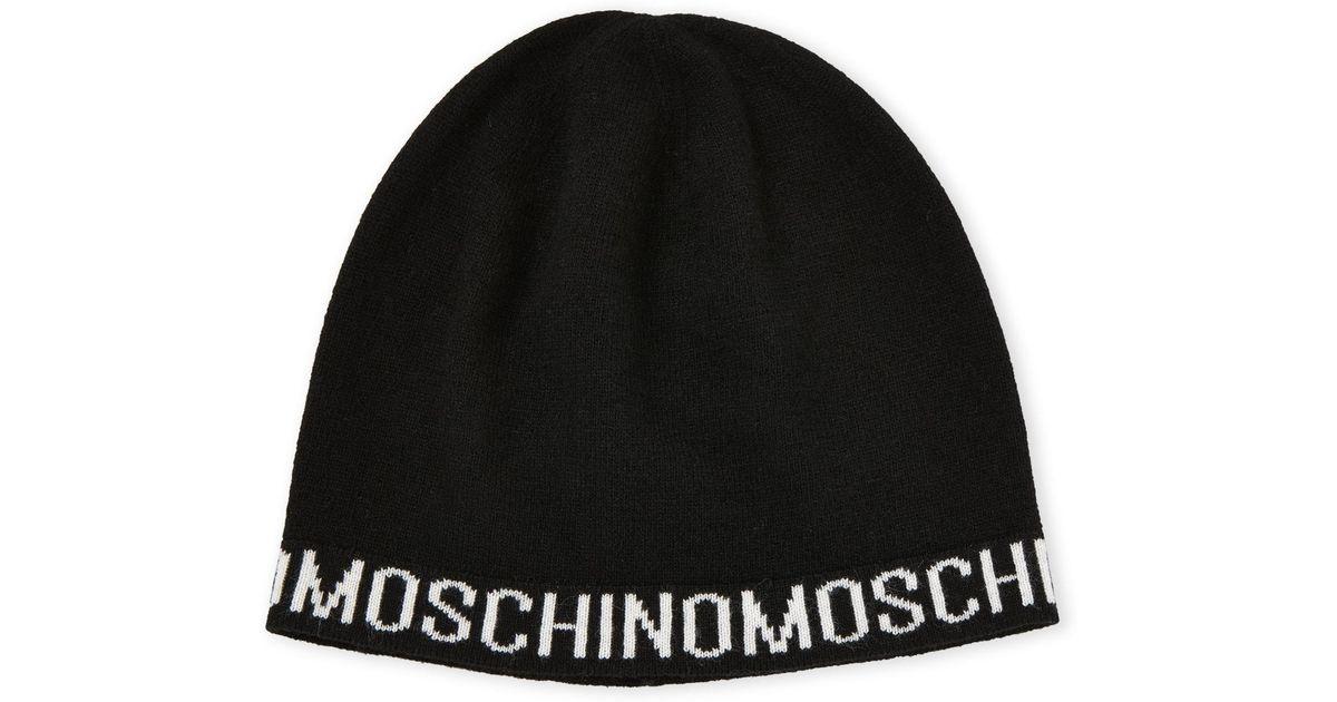 Lyst - Moschino Logo Beanie in Black for Men 4ff28c27dd0