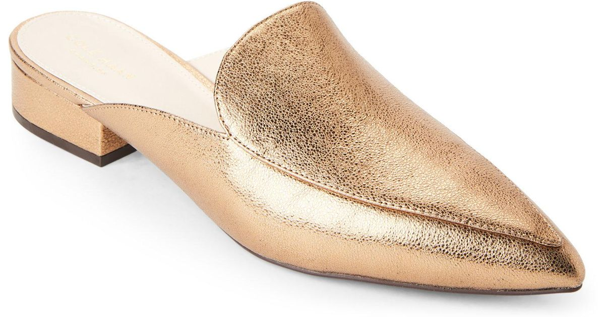 c75b6e3b926 Lyst - Cole Haan Gold Piper Loafer Mules in Metallic