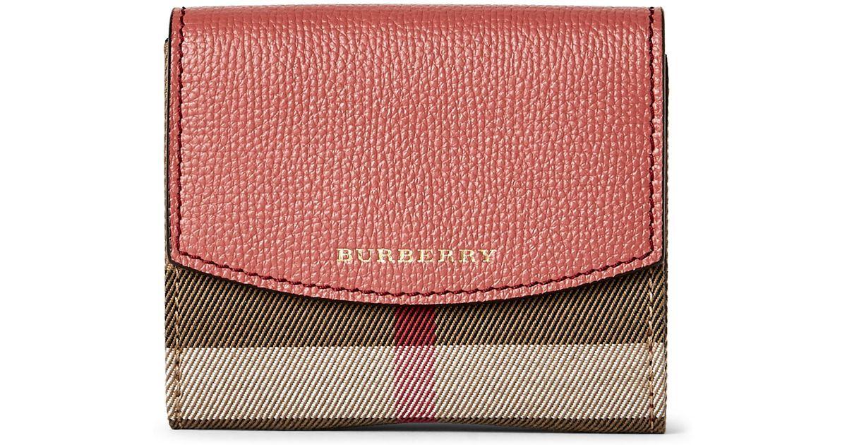 Lyst Burberry Cinnamon Red Luna Horseferry Check Leather Small 1f68555e69e2f
