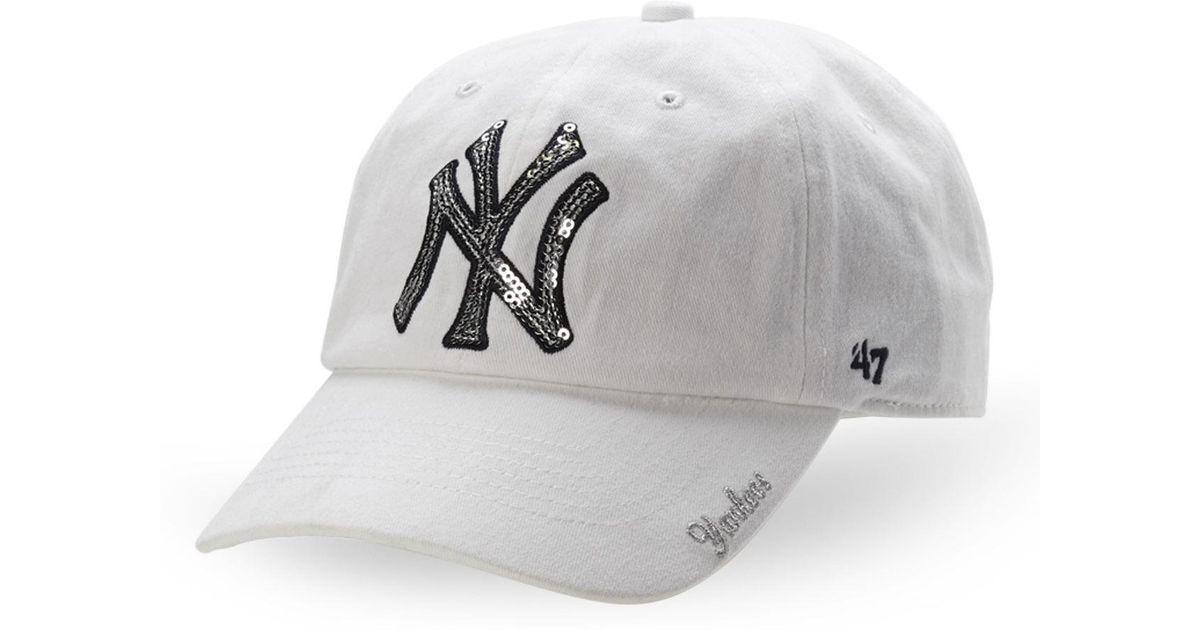 Lyst - 47 Brand New York Yankees Sparkle Baseball Cap in White f46346599ac