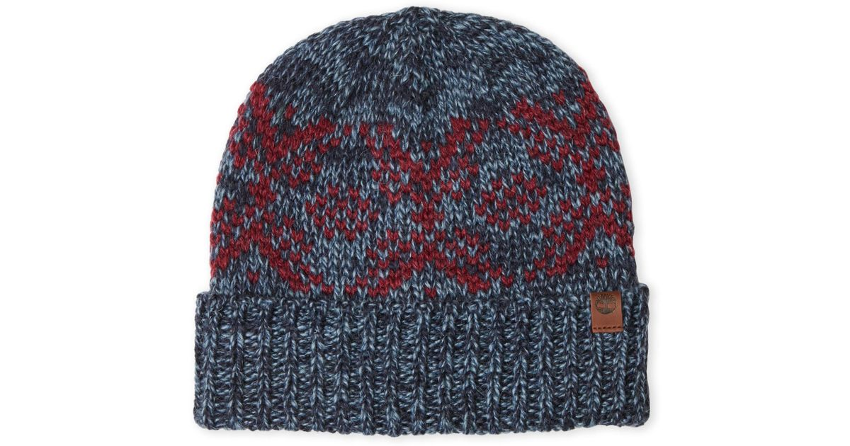 Lyst - Timberland Fairisle Knit Fitted Beanie in Blue for Men f40b2b741e3