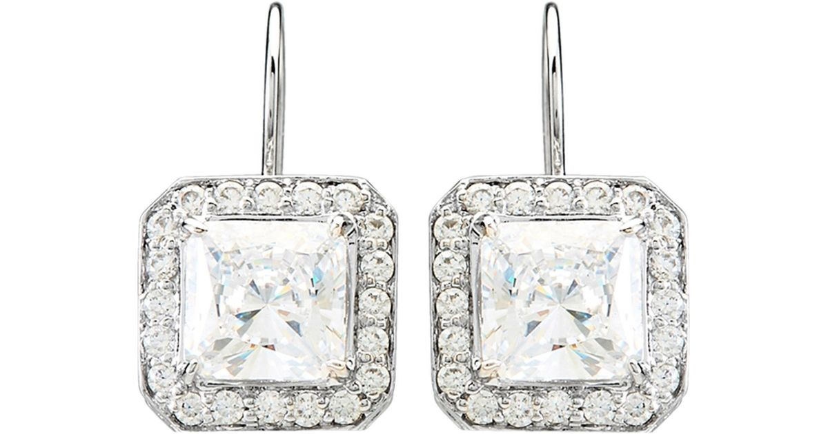 Lyst Fantasia By Deserio Silver Tone Princess Cut Cubic Zirconia Earrings In Metallic