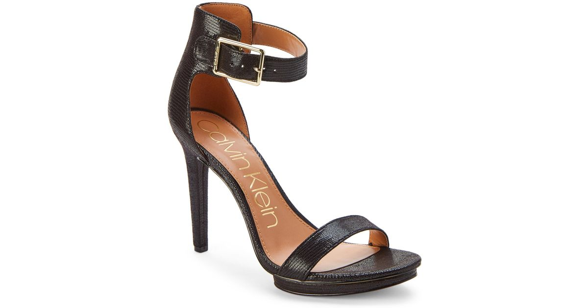 696c11009b6 Lyst - Calvin Klein Black Vivian Ankle-strap Sandals in Black