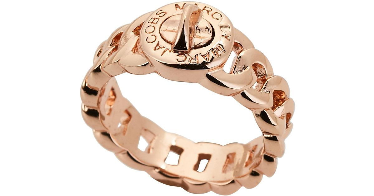 Lyst Marc By Marc Jacobs Rose GoldTone Turn Lock Katie Ring in