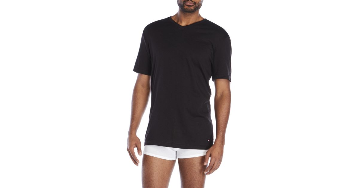 3771cc3f Lyst - Tommy Hilfiger 3-Pack Classic V-Neck T-Shirts in Black for Men