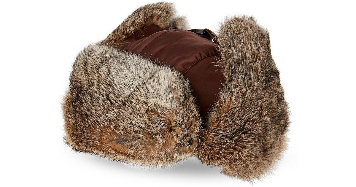 b1bd8e76c9a52 Lyst - Crown Cap Real Rabbit Fur Lined Bomber Hat in Brown for Men