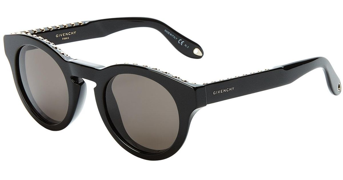 fcbffcc0d Givenchy Gv 7007/s Black Studded Round Sunglasses in Black - Lyst