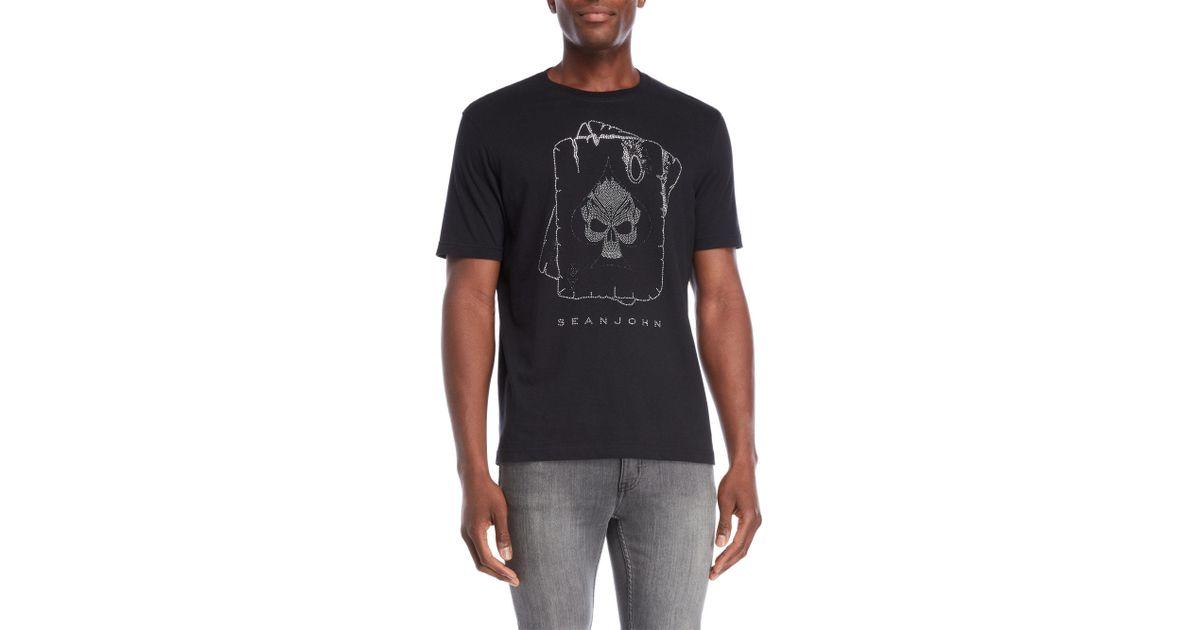 70728d42a5 Lyst - Sean John Studded Skull Spade Tee in Black for Men