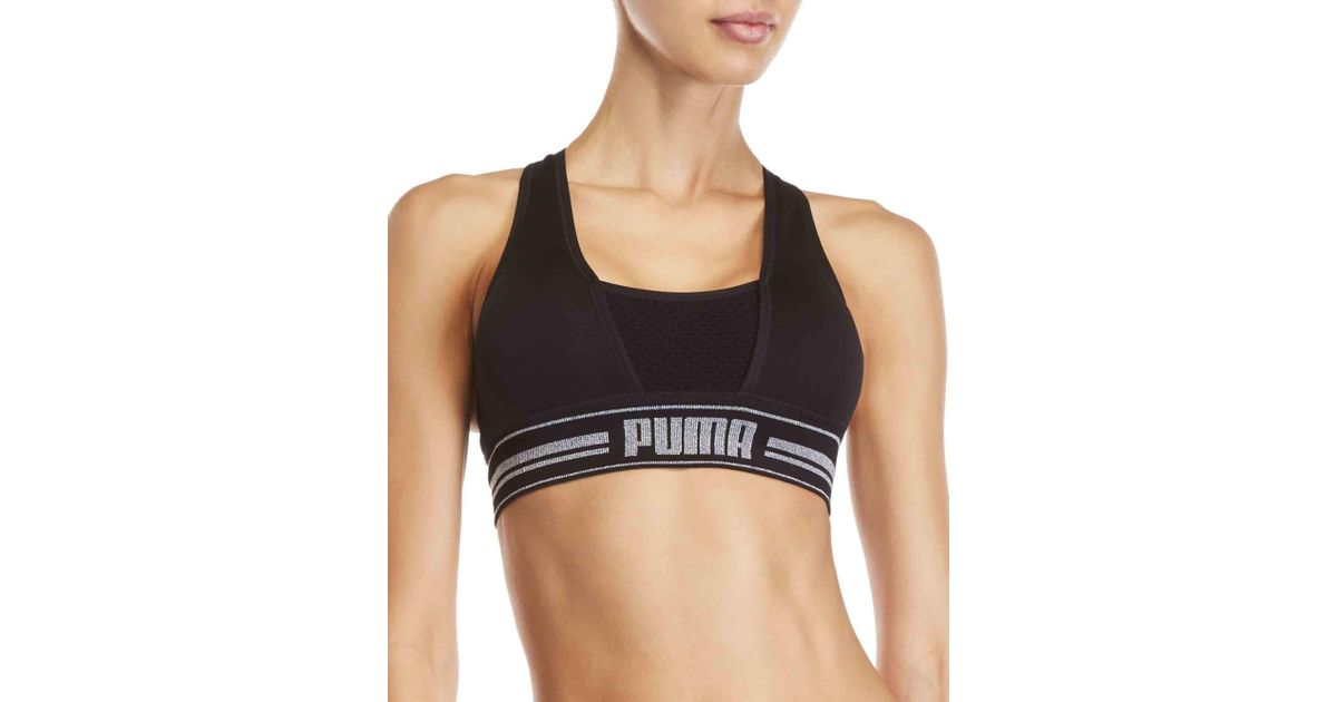 df4cf54fec Lyst - PUMA Mesh Front Glitter Logo Sports Bra in Black