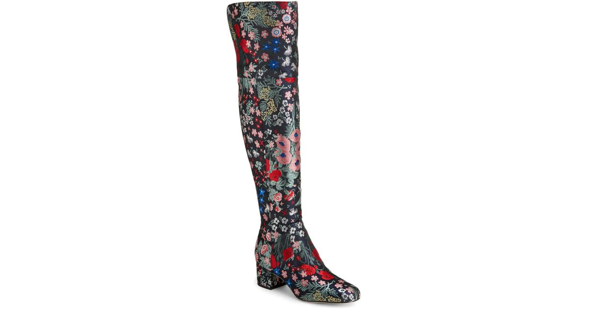 213bb446e4294 Lyst - Sam Edelman Grey Elina Floral-Jacquard Over The Knee Boots in Gray