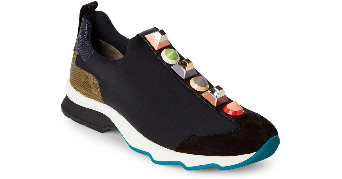 ded941760ec3 Lyst - Fendi Blue   Black Rainbow Stud Neoprene Sneakers in Black