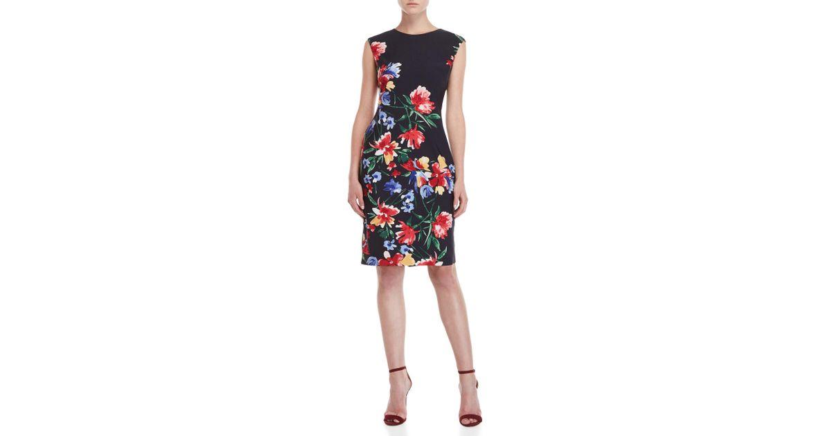 ff21041bf1 Lyst - Vince Camuto Floral Scuba Sheath Dress in Blue