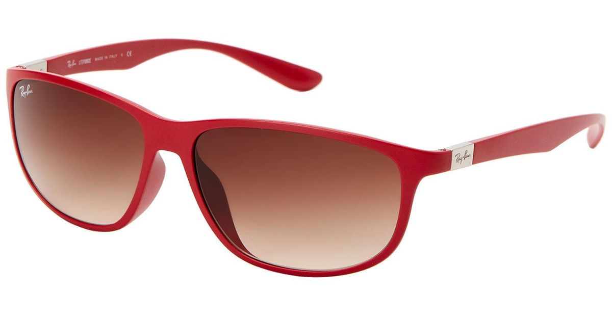 3ab1142ae3e Lyst - Ray-Ban Rb4213 Red Liteforce Oval Wrap Sunglasses in Red
