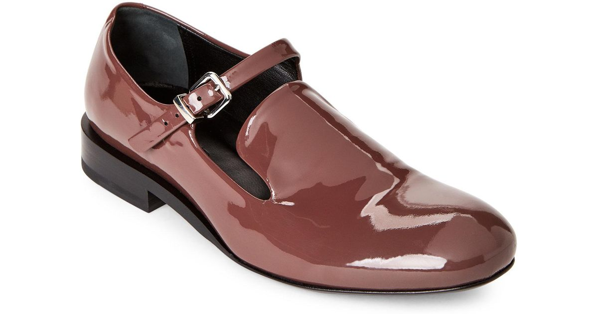 ac79a7f1f31 Lyst - Jil Sander Wine Patent Leather Buckle Loafers for Men
