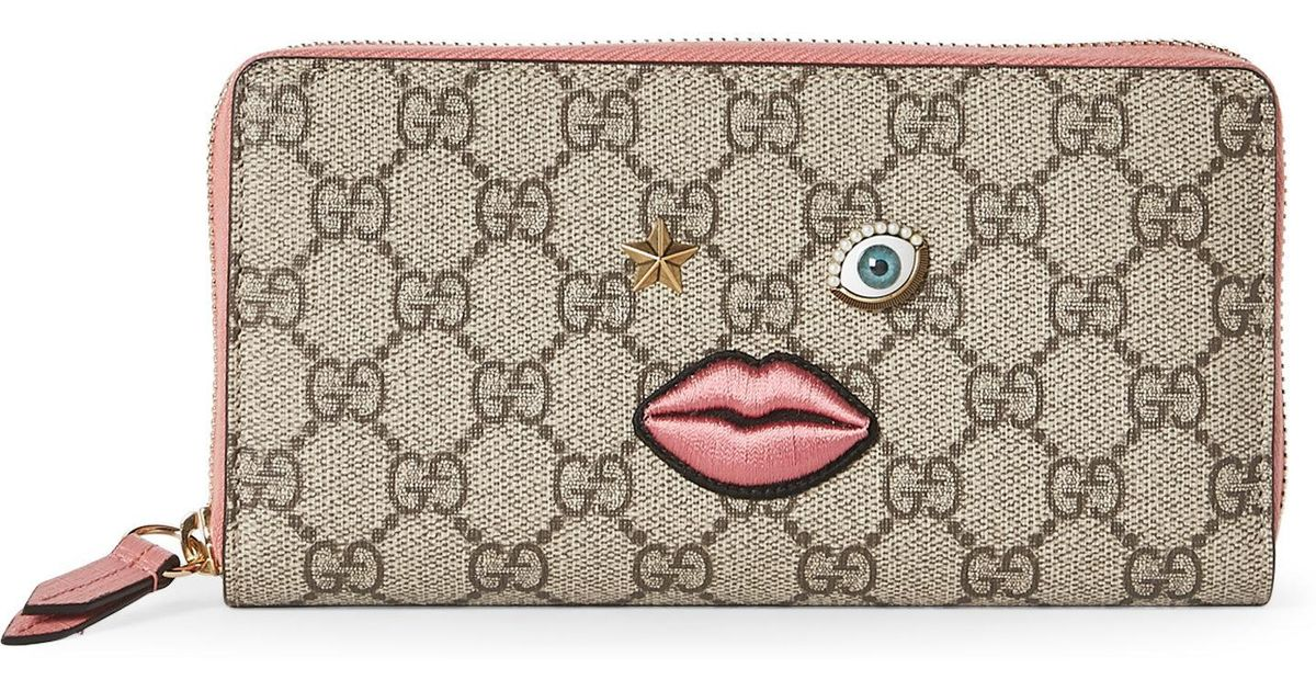 cd6b8f7ee17 Lyst - Gucci Gg Supreme Appliquéd-Face Zip Wallet