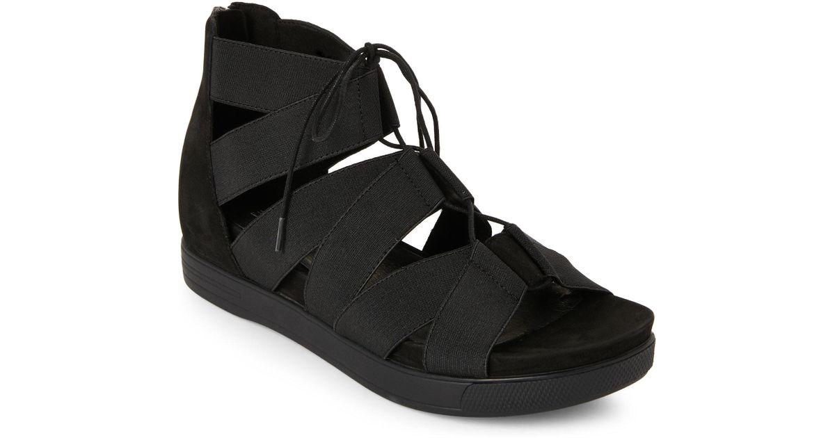 53ae646cfbf Lyst - Eileen Fisher Black Link Stretch Platform Wedge Sandals in Black