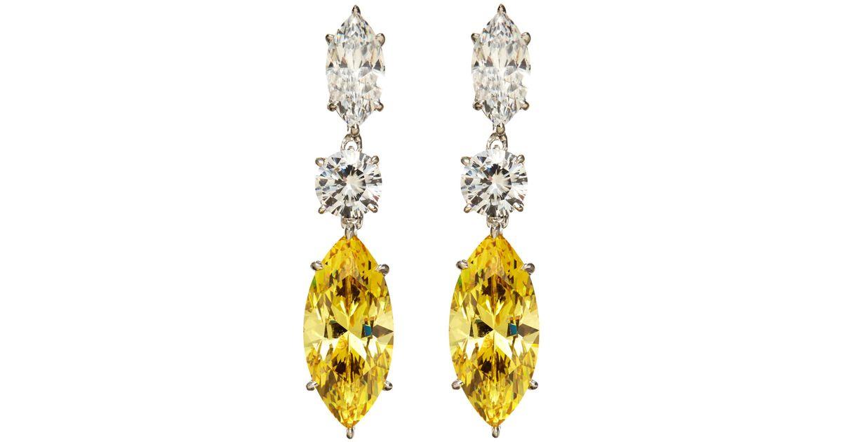 Lyst Fantasia By Deserio 14k White Gold Plated Cubic Zirconia Drop Earrings In Metallic