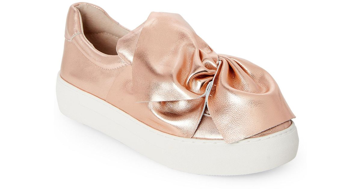 09dbf135915 Lyst - J Slides Rose Gold Annabelle Bow-Accented Leather Platform Sneakers  in Pink