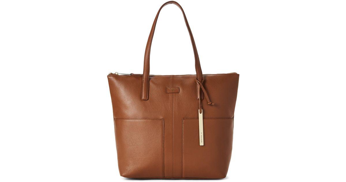Lyst - T Tahari Caramel Riley Leather Tote in Brown 14d714c183707