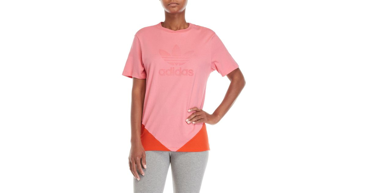 46f678a9821d36 Lyst - adidas Color Block Velvet Logo Tee in Pink