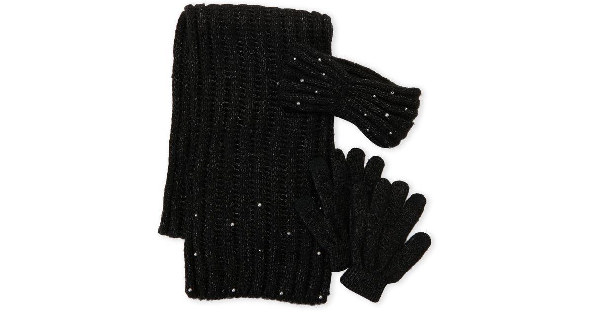 46e602f682d Lyst - Betsey Johnson 3-piece Scarf Headband   Glove Gift Set in Black