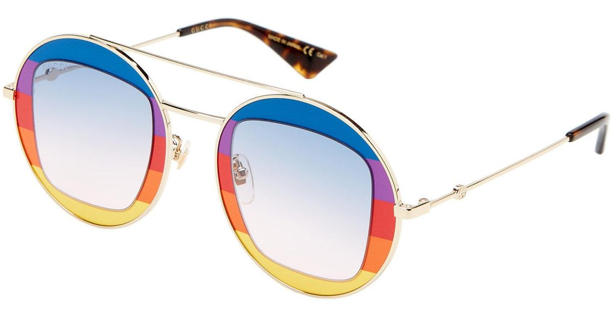 dbde095dc Gucci Gg0105/s Gold-tone Rainbow Round Sunglasses in Blue - Lyst