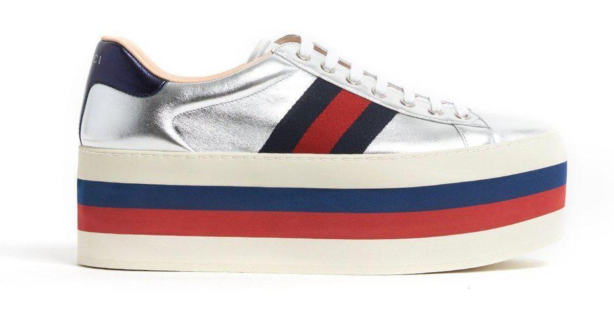 8d84d0a57ec Lyst - Gucci Metallic Platform Sneakers in Metallic for Men