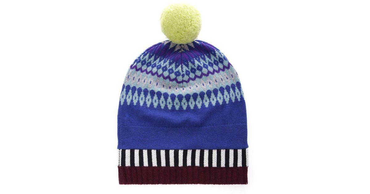 63b8c03cd0e Lyst - Burberry Knit Bobble Hat in Blue for Men