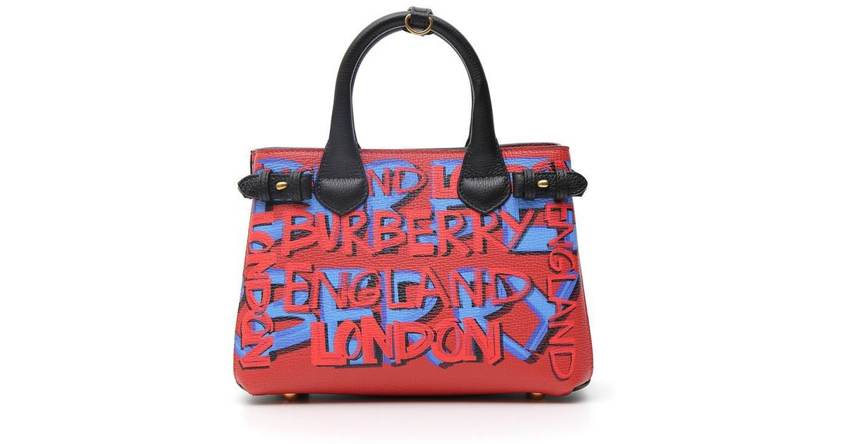 988092b585 Burberry Small Banner Graffiti Tote in Red - Lyst