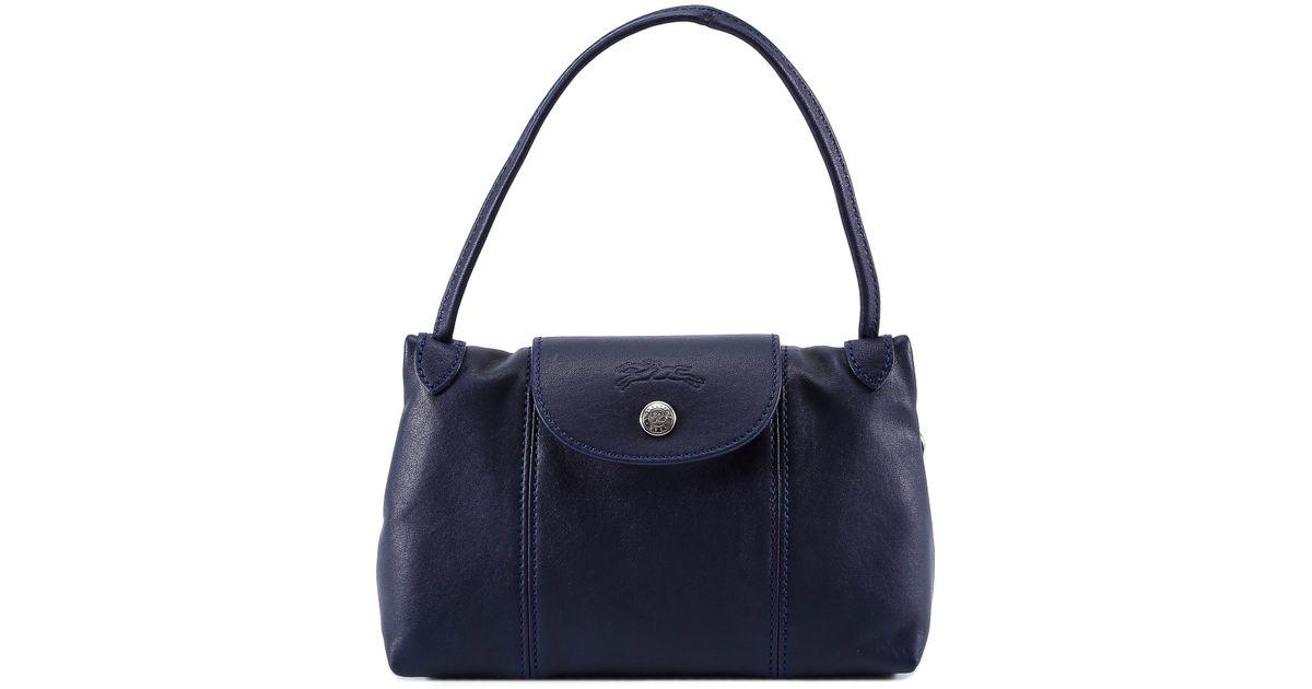 Longchamp Le Pliage Cuir Crossbody Bag in Blue - Lyst d1d94c984edaf